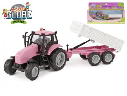 Traktor s vlečkou 25cm kov na setrvačník na baterie se světlem a zvukem v krabičce