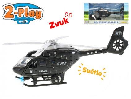 Vrtulník policejní 22cm kov 2-Play na zpětný chod na baterie se světlem a zvukem v krabičce