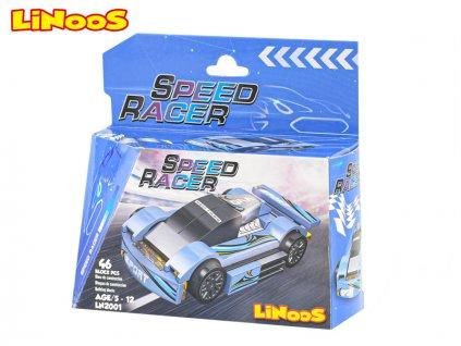 LiNooS stavebnice 46ks auto sportovní na volný chod v krabičce