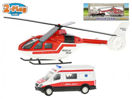 Sada záchranáři helikoptéra 16cm kov + auto ambulance 7cm kov volný chod 2-Play v krabičce