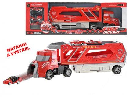 Přepravník aut hasiči 41cm na volný chod + 3auta 6cm kov na volný chod v krabičce