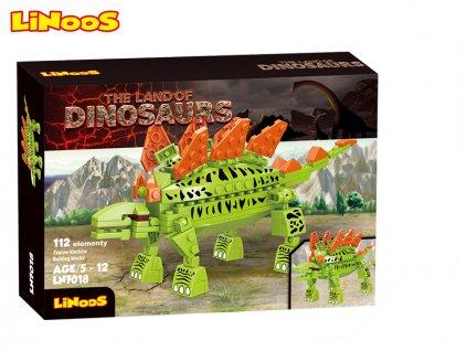 LiNooS stavebnice 112ks dinosaurus Stegosaurus v krabičce