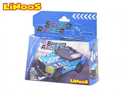 LiNooS stavebnice 42ks auto sportovní na volný chod v krabičce