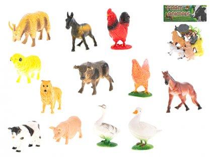 Zvířátka farma 8-10cm 6ks s doplňky v sáčku