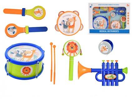 Sada hudebních nástrojů 7ks s paličkami v krabičce