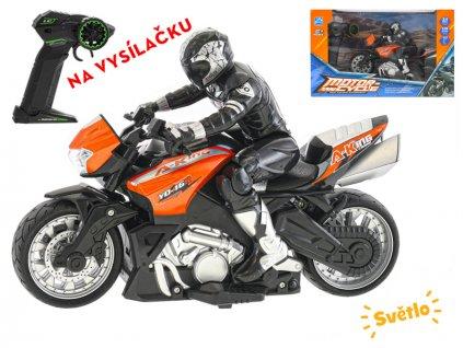 R/C motorka s jezdcem 26cm 1:10 plná funkce na baterie se světlem 2.4GHz v krabičce