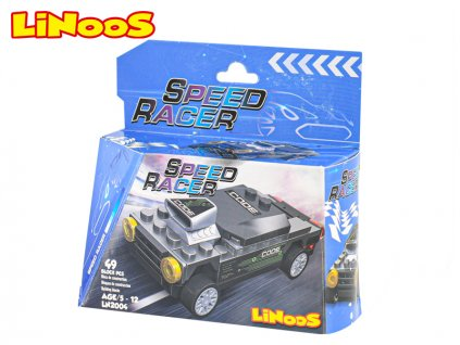 LiNooS stavebnice 49ks auto sportovní na volný chod v krabičce