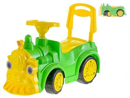 Lokomotiva odrážedlo 68x24x37cm zelená max. 30kg v sáčku