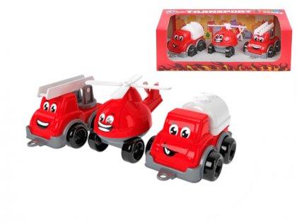 Sada hasičských vozidel 11cm 3ks v krabičce