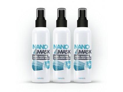3 x NANO 4MASK nástřik nanostříbra na bavlněné roušky 100 ml