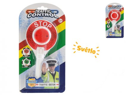 Policejní plácačka semafor 23cm na baterie se světlem na kartě