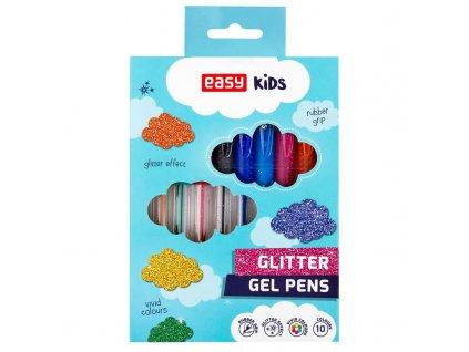GLITTER - gelové pero se třpytkami - mix barev, 10ks/sada, papírová krabička (starý kód S48472)