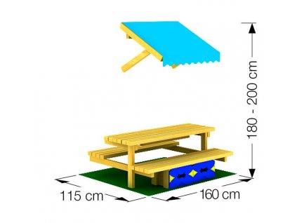 Jungle Gym Mini Picnic Module 160cm lavice se stolkem