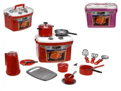 Přenosný kuchyňský set Iriska - sporák s nádobím 2barvy v síťce