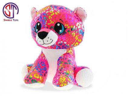 Leopard Rainbow Star Sparkle plyšový barevný 35cm sedící 0m+ v sáčku