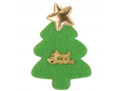 Dekorativní plstěné ozdoby stromek zlatá hvězda 4ks se samolepkou 55x78 mm