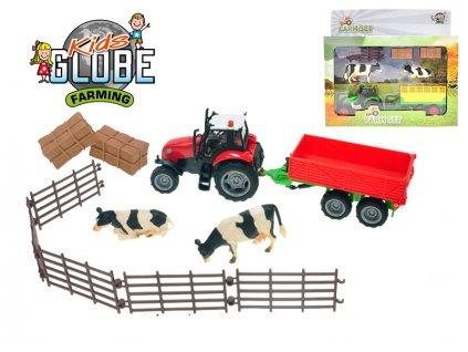 Sada farma - traktor 10cm kov s vlekem na baterie se světlem a zvukem a doplňky v krabičce