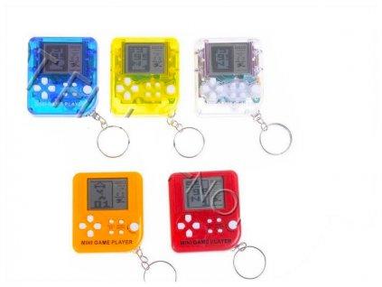 Přívěsek na klíče mini brickgame 6cm na baterie se zvukem 6barev na kartě