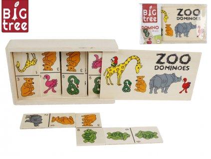 Domino dřevěné zvířátka 15,5x9x4cm 28ks v dřevěné krabičce ve fólii