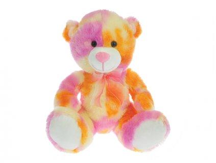Medvěd plyšový 50cm sedící 0m+oranžovo-růžový v sáčku