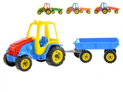 Traktor s vlekem Titan 41cm volný chod 4barvy v síťce
