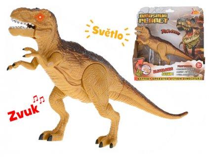 Dinosaurus Tyranosaurus 25cm na baterie se světlem a zvukem v krabičce