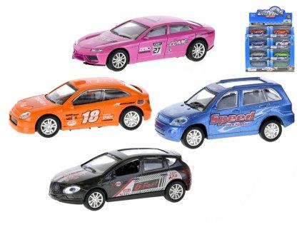 Auto závodní 9cm kov 1:43 na zpětný chod 4druhy 3barvy v krabičce 24ks v DBX