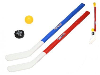 Hokejka 71cm 2ks s míčkem a pukem v síťce