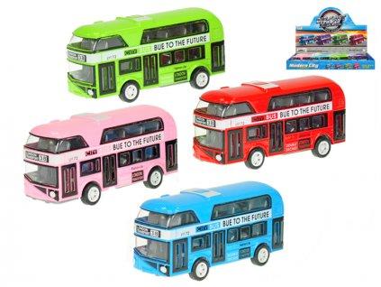 Autobus dvoupatrový 10cm kov zpětný chod 4barvy 12ks v DBX