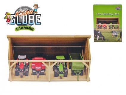 Garáž dřevěná pro traktory 25,5x33,5x17cm 1:50 v krabičce