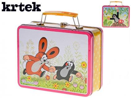 Plechový kufřík Krteček růžový 19,5x7,5x16,5cm v sáčku