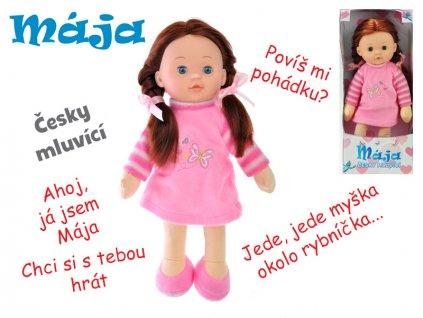 Panenka Mája mrkací 42cm růžová na baterie česky mluvící v krabičce