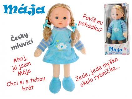Panenka Mája mrkací 42cm modrá na baterie česky mluvící v krabičce