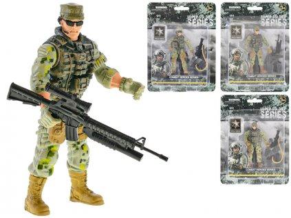 Voják kloubový 10cm stojící se zbraní 3druhy na kartě