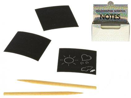 Kreativní sada 100ks 8,5x8,5cm škrábací papíry s perem (2ks) v krabičce