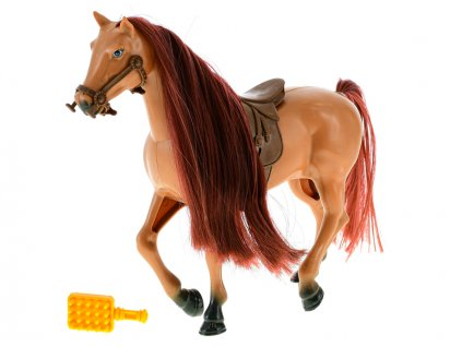 Kůň 18cm se sedlem a doplňky 2barvy v krabičce