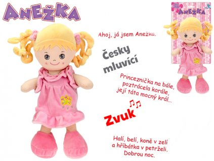 Panenka Anežka 36cm na baterie česky mluvící a zpívající blondýnka 0m+ na kartě