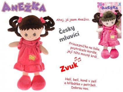 Panenka Anežka 36cm na baterie česky mluvící a zpívající brunetka 0m+ na kartě