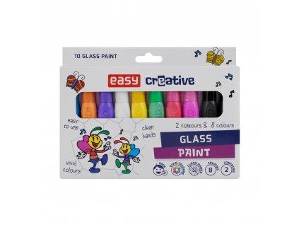 Barvy na sklo GLASS PAINT- sada 8 barev + 2 kontury x 10,5 ml