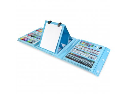 Kreativní výtvarná sada II 208 ks, včetně plastového stojanu, modrá