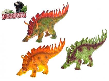 Dinosaurus Stegosaurus 35cm na baterie se zvukem 3barvy v sáčku
