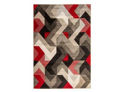 Flair Rugs koberce AKCE: 200x290 cm Kusový koberec Hand Carved Aurora Grey/Red - 200x290 cm