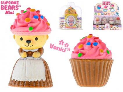Cupcake mini medvídek 6cm vonící v blistru 12druhů 24ks v DBX