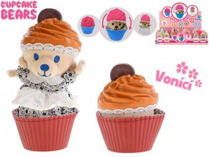 Cupcake medvídek plyšový 10cm vonící v blistru 12druhů 12ks v DBX