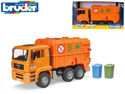 Bruder popelářské auto MAN 45cm na volný chod + 2ks popelnice 4+ v krabičce