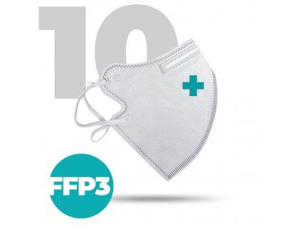 10 x Český bezpečný nano respirátor FFP3 bílý