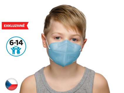 Český respirátor FPP2 vhodný pro děti - modrý