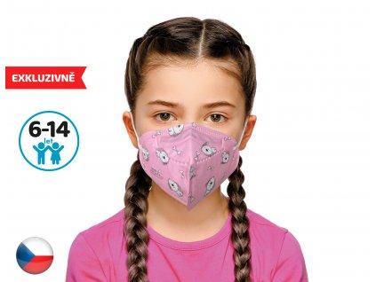 Český respirátor FPP2 vhodný pro děti -růžový pejsek