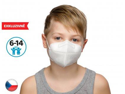 Český respirátor FPP2 vhodný pro děti- bílý