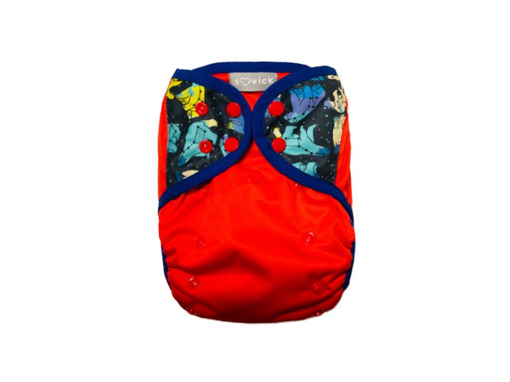 SOVICK vrchné nohavičky s krídelkami červené so súhvezdím medveďa zapínanie na patentky